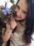 Toy Yorkie with her owner Marina