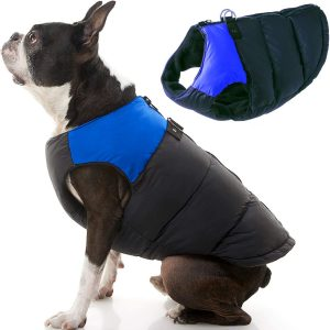 Zip Up Dog Jacket Coat with D Ring Leash